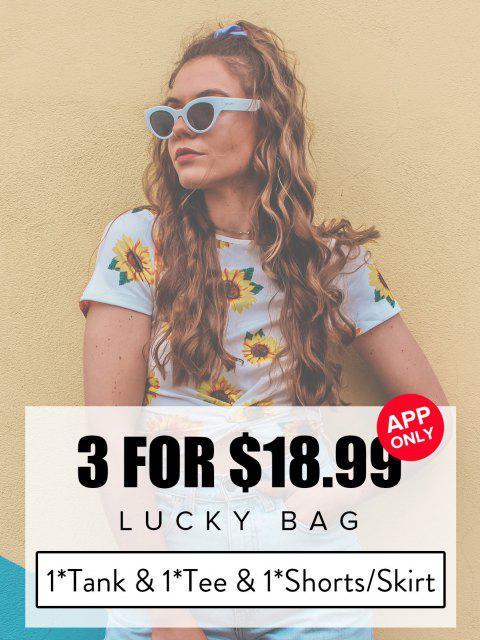 shop ZAFUL Lucky Bag - Womenswear 1*Tank Top & 1*Tee & 1*Shorts/Skirt - Limited Quantity - MULTI XL Mobile