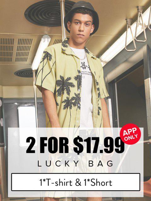 ZAFULBolsadelasuerte- Ropa de hombre 1 * Camiseta y 1 *Short- Cantidad limitada - Multicolor 4XL Mobile