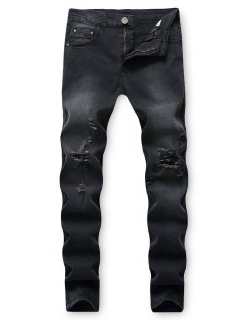 womens Destroy Wash Ripped Back Pocket Long Jeans - BLACK 32 Mobile
