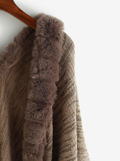 affordable Faux Fur Insert Open Front Fringed Poncho Cardigan - DEEP COFFEE ONE SIZE Mobile