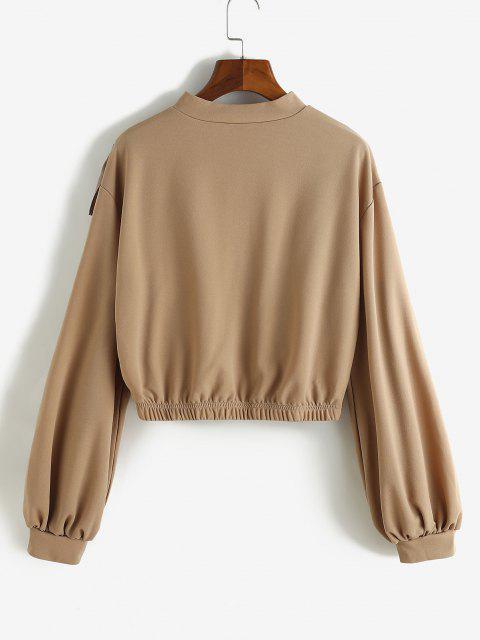 new Ruffle Quarter Zip Pullover Sweatshirt - DEEP COFFEE S Mobile
