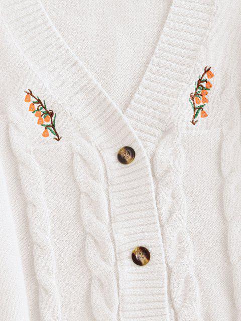 ボタン付き刺繍ケーブルニットカーディガン - クリスタルクリーム ワンサイズ Mobile