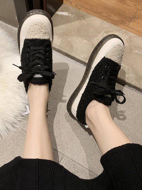 trendy Colorblock Teddy Faux Fur Lace Up Shoes - BLACK EU 38 Mobile