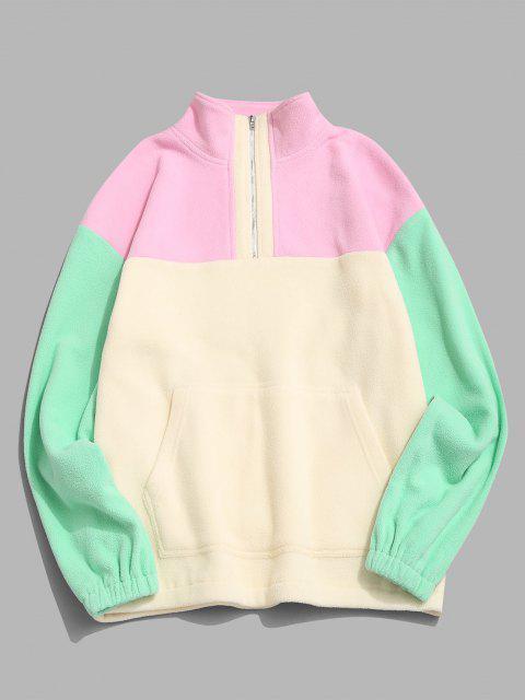fashion Colorblock Quarter Zip Kangaroo Pocket Fluffy Sweatshirt - MULTI L Mobile