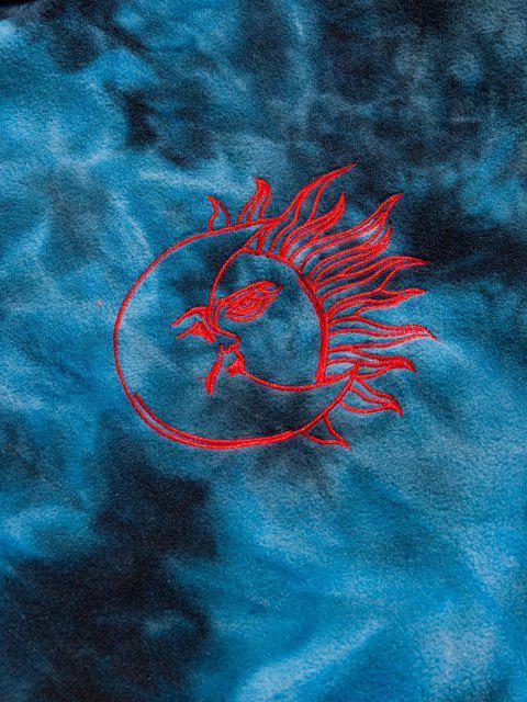 womens Sun Moon Fire Embroidered Tie Dye Fleece Hoodie - DEEP BLUE 2XL Mobile