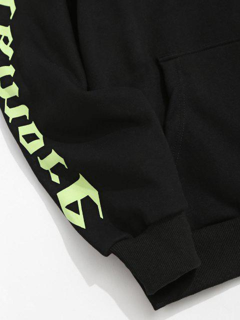 hot ZAFUL Letter Pattern Fleece Hoodie - BLACK L Mobile