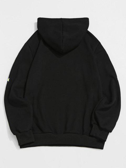 shops ZAFUL Letter Pattern Fleece Hoodie - BLACK M Mobile