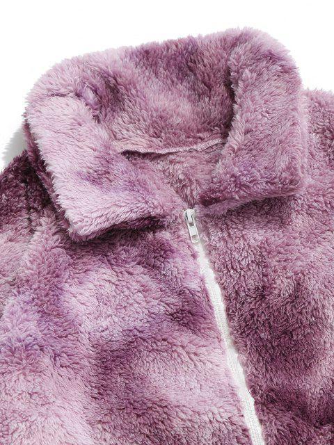 trendy ZAFUL Tie Dye Fluffy Jacket - PURPLE XL Mobile