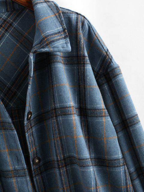 affordable Boyish Checked Wool Blend Coat - BLUE XL Mobile