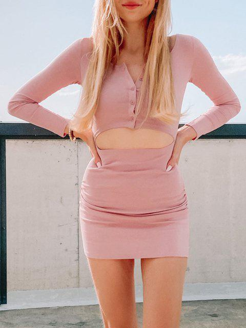 shops Half Buttoned Cut Out Draped Mini Dress - LIGHT PINK L Mobile
