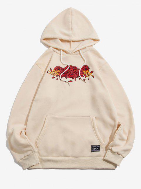 ladies Letter Applique Rose Flowers Print Fleece Hoodie - BEIGE M Mobile