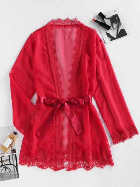 shops ZAFUL Eyelash Lace Belted Mini Robe - RED L Mobile