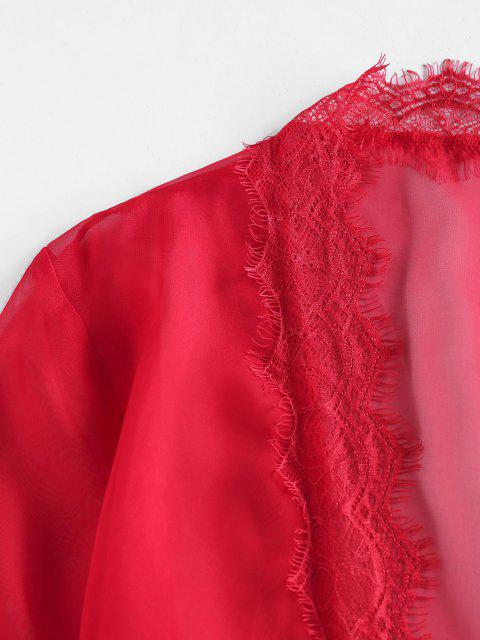 best ZAFUL Eyelash Lace Belted Mini Robe - RED M Mobile
