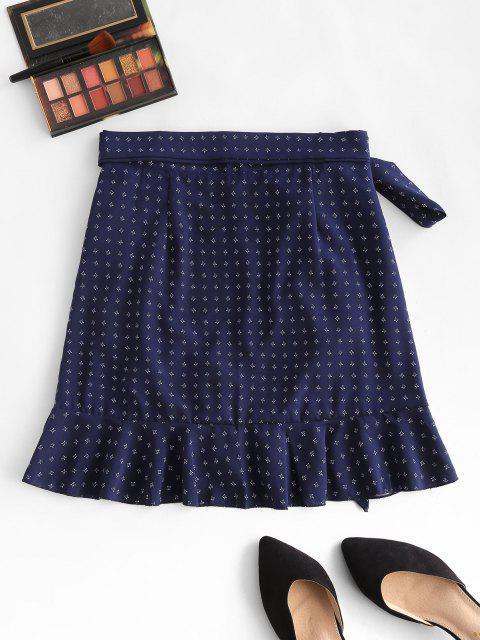 latest Ditsy Floral Flounce Wrap Skirt - DEEP BLUE L Mobile