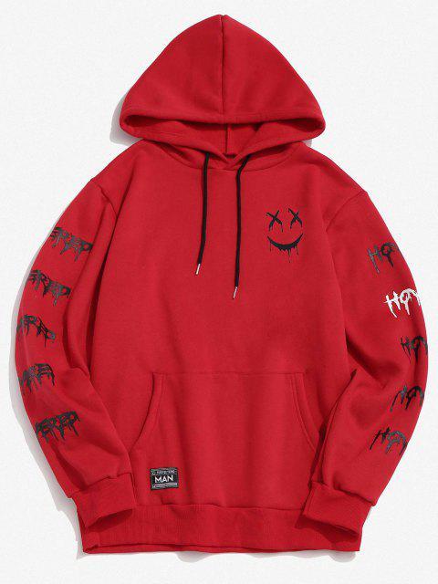 hot Cartoon Face Letter Print Applique Fleece Hoodie - RED XL Mobile