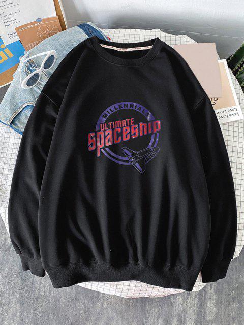 buy Crew Neck Ultimate Spaceship Graphic Sweatshirt - BLACK S Mobile