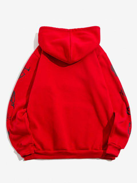 fashion Kangaroo Pocket Crown Tiger Print Fleece Hoodie - RED 2XL Mobile