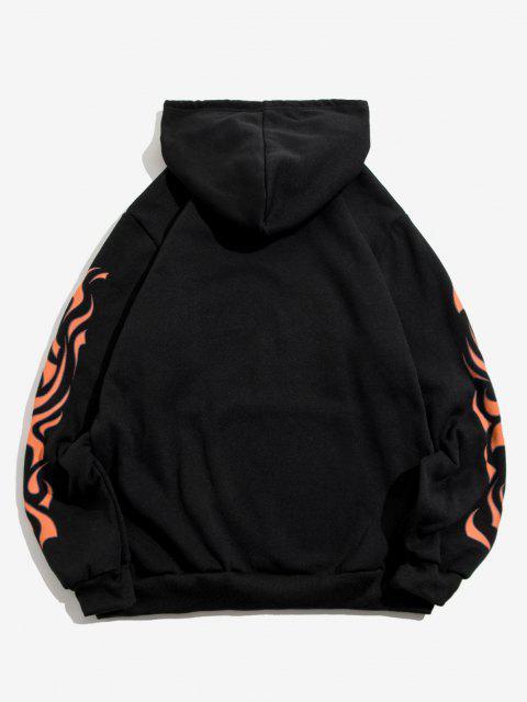 womens Kangaroo Pocket Letter Fire Print Fleece Hoodie - BLACK S Mobile