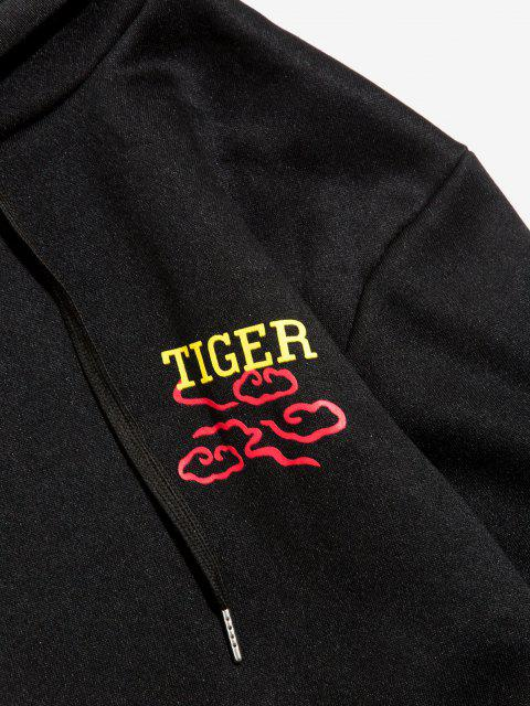 latest Graphic Tiger Print Drawstring Fleece Hoodie - BLACK XL Mobile