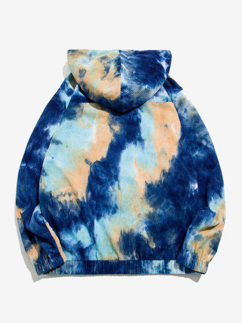 fashion Half Zip Applique Tie Dye Corduroy Hoodie - DEEP BLUE S Mobile