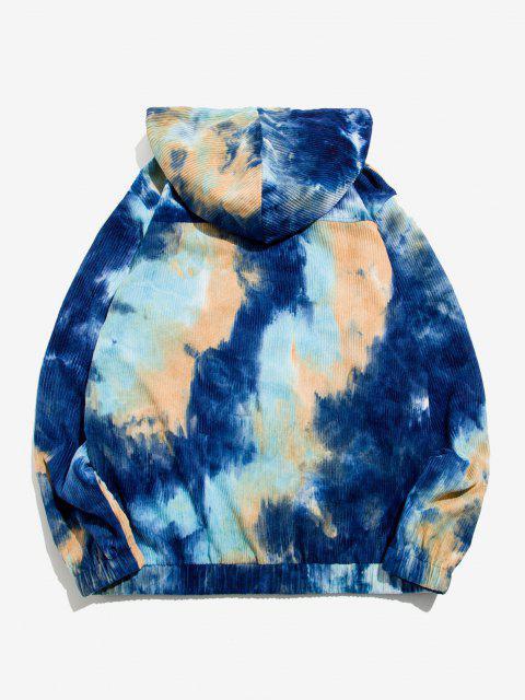 Sweat à Capuche Applique Teinté à Demi-Zip en Velours Côtelé - Bleu profond XL Mobile