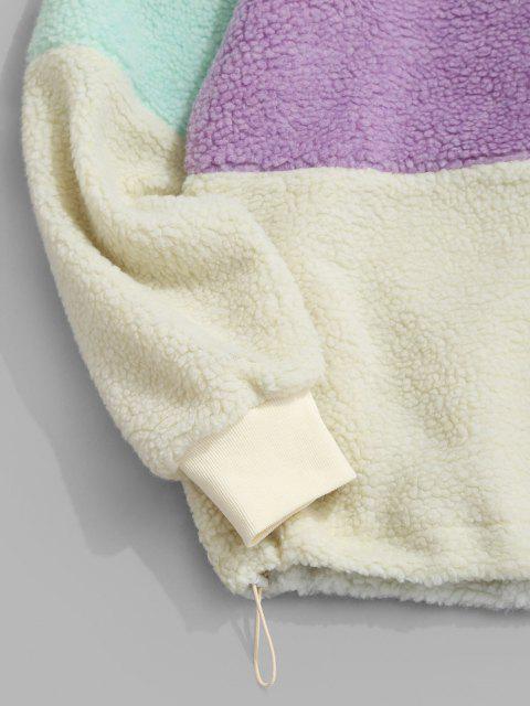 ladies ZAFUL Colorblock Quarter Zip Teddy Sweatshirt - MULTI S Mobile
