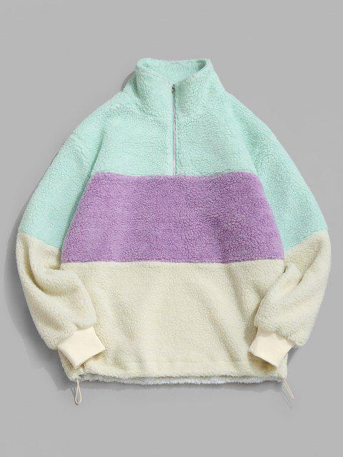 online ZAFUL Colorblock Quarter Zip Teddy Sweatshirt - MULTI XL Mobile