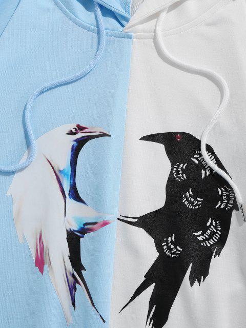 sale ZAFUL Two Tone Bird Print Hoodie - MULTI-B XL Mobile