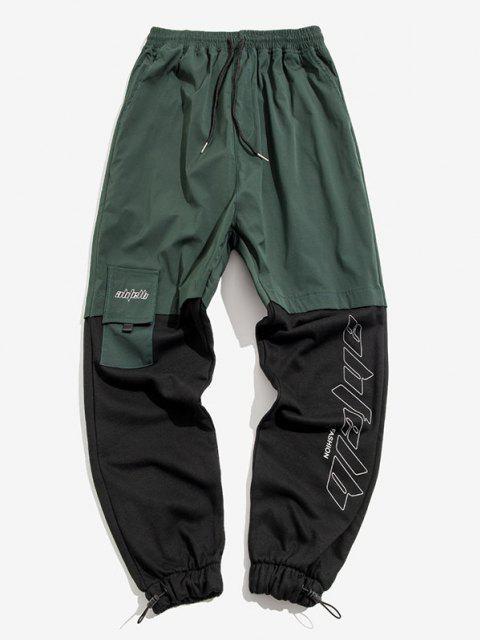 Pantalones con Estampado de Letras y de Color Bloque - Verde de Bosque Oscuro XS Mobile