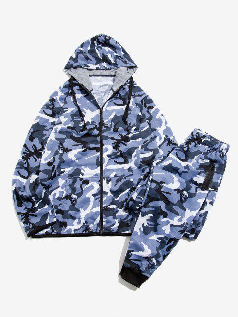 shops Camouflage Print Jacket And Pants Two Piece Set - BLUE GRAY XL Mobile