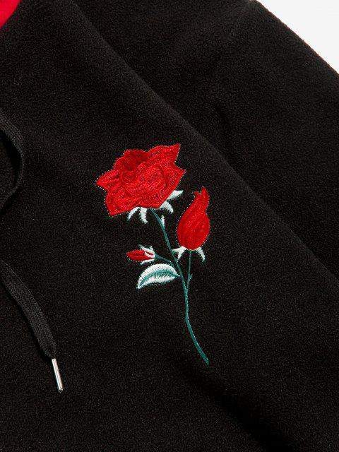 Blumen Bestickte Applikation Detail Vlies Hoodie - Schwarz L Mobile