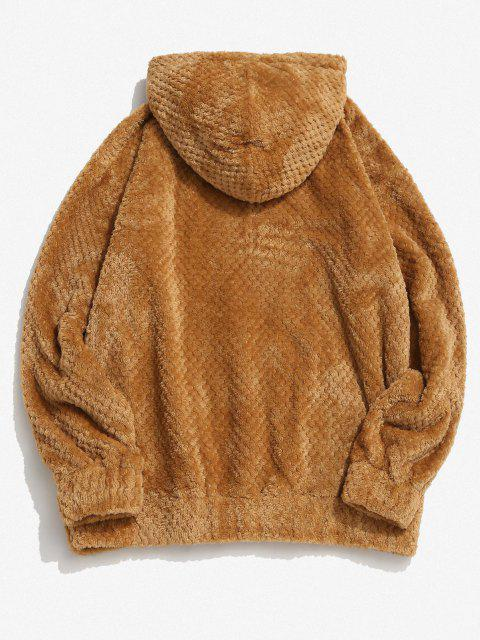 sale Zaful Label Kangaroo Pocket Fluffy Hoodie - COFFEE 2XL Mobile