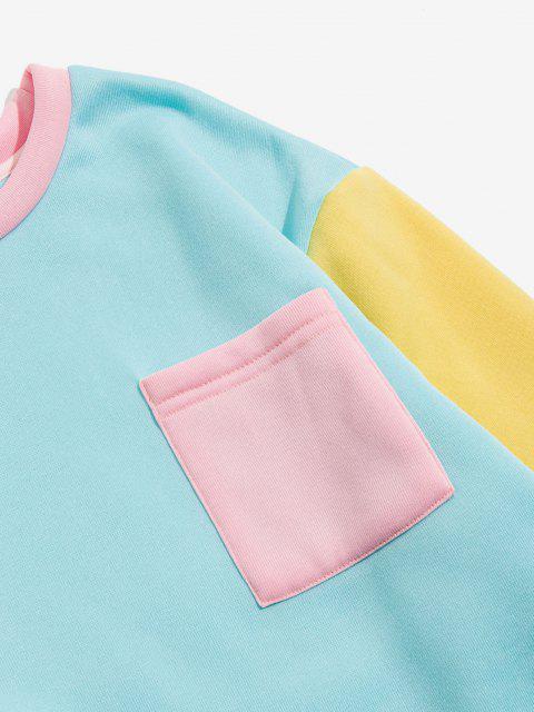 women's The Statue Of Liberty Graphic Print Contrast Pocket Fleece Sweatshirt - LIGHT BLUE M Mobile