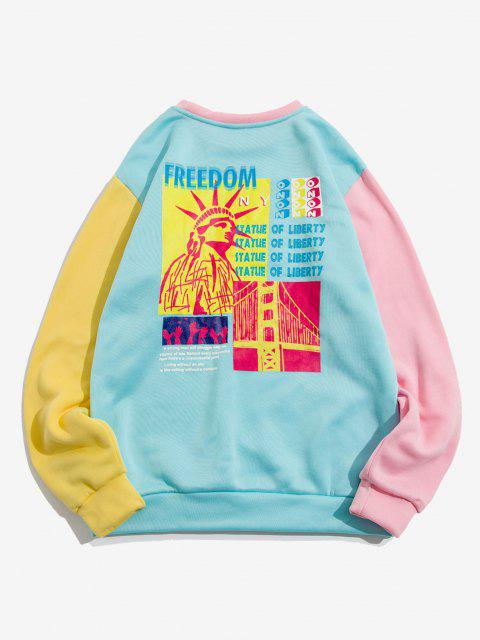ladies The Statue Of Liberty Graphic Print Contrast Pocket Fleece Sweatshirt - LIGHT BLUE S Mobile