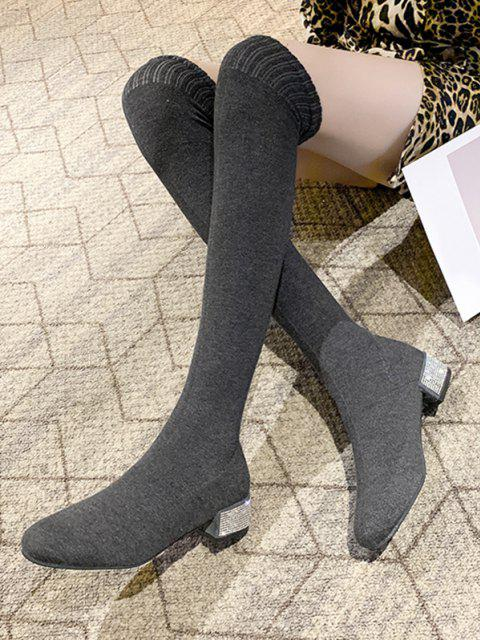 outfit Over The Knee Stretch Rhinestone Boots - GRAY EU 39 Mobile