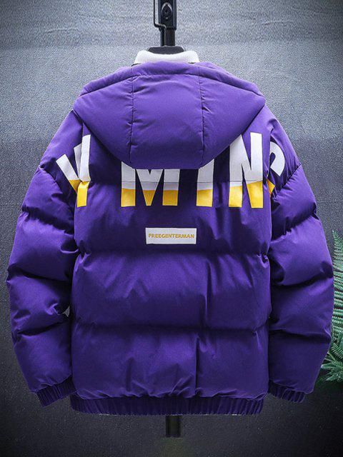 sale Zip Up Letter Graphic Pockets Padded Coat - PURPLE XL Mobile
