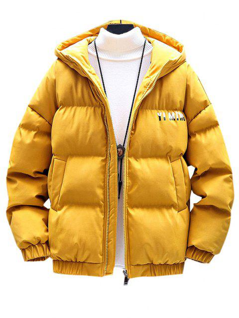 buy Zip Up Letter Graphic Pockets Padded Coat - YELLOW 3XL Mobile