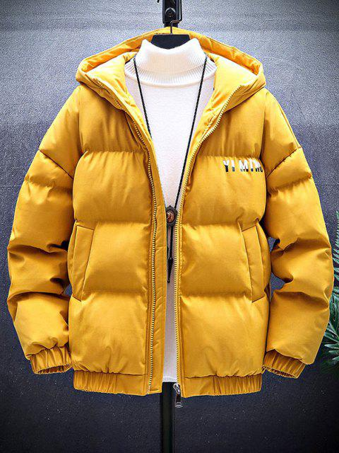 women's Zip Up Letter Graphic Pockets Padded Coat - YELLOW XL Mobile
