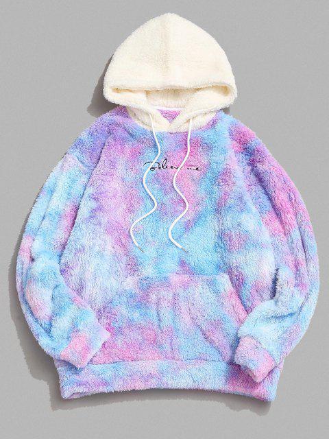 chic Tie Dye Believe Me Colorblock Fluffy Hoodie - MULTI L Mobile
