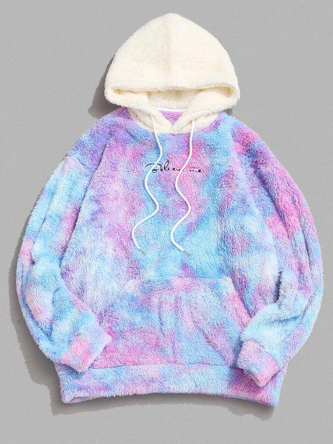 hot Tie Dye Believe Me Colorblock Fluffy Hoodie - MULTI XL Mobile