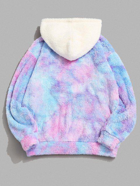 fancy Tie Dye Believe Me Colorblock Fluffy Hoodie - MULTI S Mobile