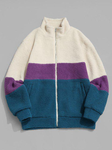 new ZAFUL Colorblock Zip Up Pocket Teddy Jacket - MULTI L Mobile