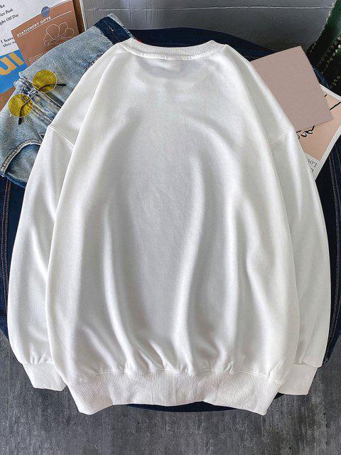 affordable Crew Neck Dreamer Pattern Sweatshirt - WHITE M Mobile