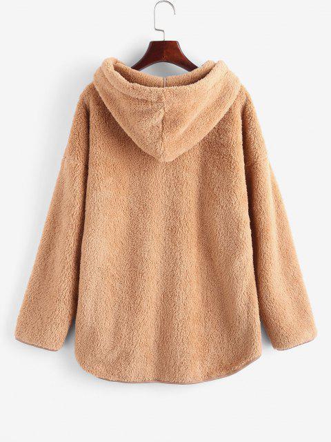 fancy Faux Fur Drop Shoulder Plush Tunic Hoodie - COFFEE M Mobile