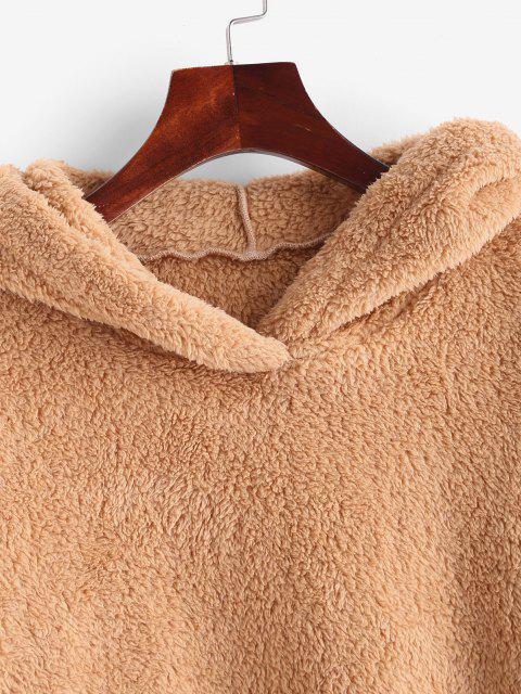 best Faux Fur Drop Shoulder Plush Tunic Hoodie - COFFEE XL Mobile