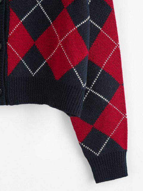 lady ZAFUL Argyle Drop Shoulder Button Up Cardigan - DEEP BLUE M Mobile