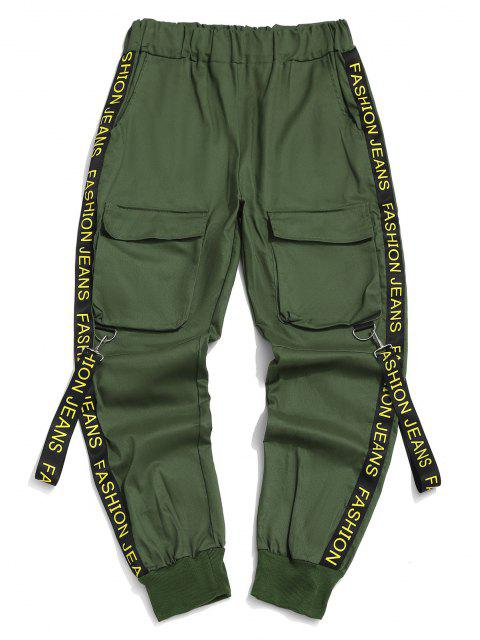 lady Letter Print Strap Streetwear Cargo Pants - MEDIUM SEA GREEN S Mobile