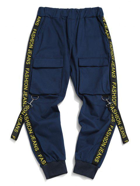 best Letter Print Strap Streetwear Cargo Pants - DENIM DARK BLUE S Mobile