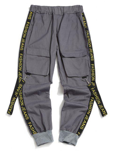 Pantalones con Correa Estampada de Letras - Gris Ceniza M Mobile