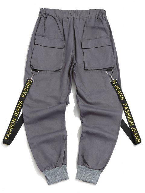Pantalones con Correa Estampada de Letras - Gris Ceniza 2XL Mobile